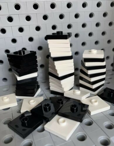 Lego Black White Plate Tile 2x2 with Knob Groove Centre Stud Jumper New 50pcs