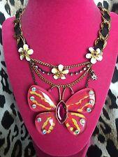 Betsey Johnson Hawaiian Luau Hibiscus Flower Ladybug HUGE Butterfly Necklace