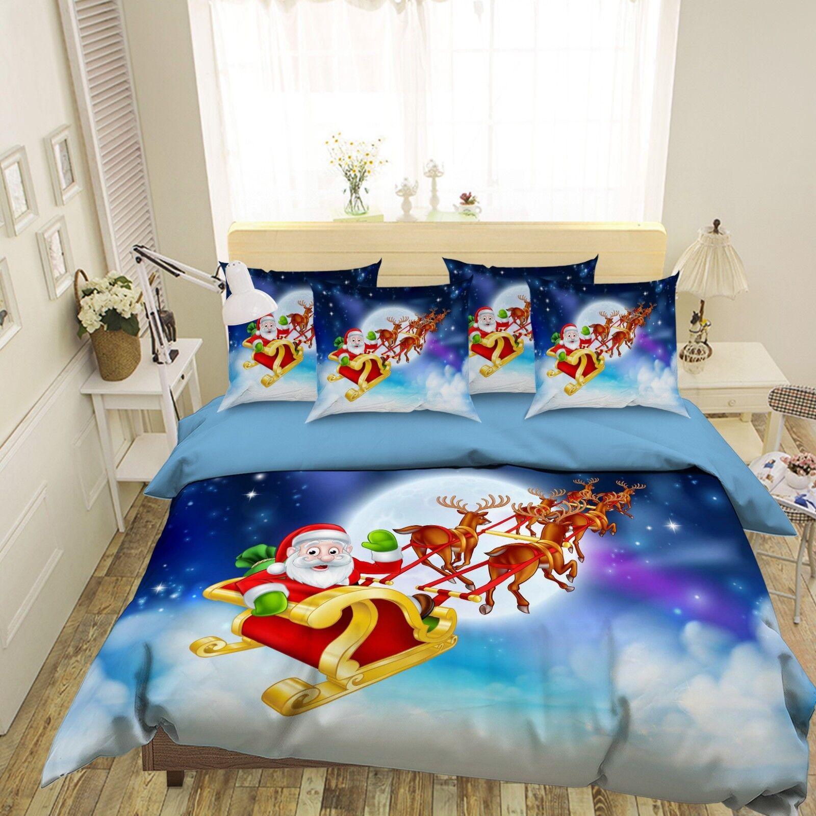 3D Moon Santa Claus 7 Bed Pillowcases Quilt Duvet Cover Set Single Queen King CA