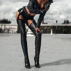genou en pour sur boucle Stilettos longues en avec le D138 Sexy femmes Bottes cuir similicuir ceinture de D2H9YWEI