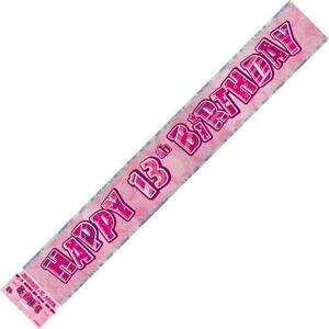GLITZ-PINK-HAPPY-13TH-BIRTHDAY-FOIL-BANNER-3-6M-12-039-BIRTHDAY-PARTY-DECORATION