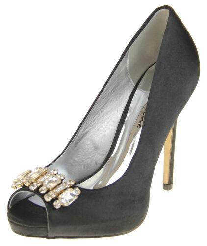 Ladies Sabatine Satin Diamante Cluster Bridal Wedding Shoes Sz Sizes 5 6