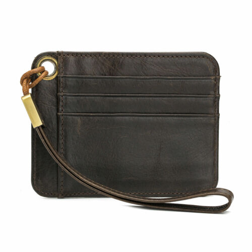 Leather Men Wallet Male Short Purse ID Card Holder Dark Brown