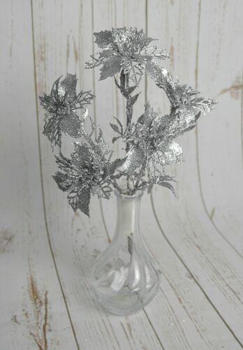 Glittered Poinsettia Gold Silver Flower Spray x 5 Stems Christmas Foliage