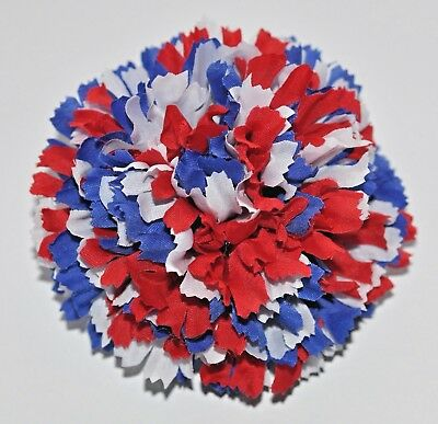 """4.5/"""" Patriotic Red White Blue Gingham Peony Artificial Silk Flower BROOCH Pin #2"""