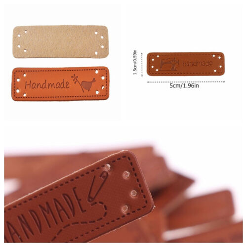 10Pcs Retro Sewing Accessories Garment Handmade Labels PU Leather Tag Patch