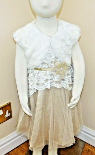 Jona Michelle Holiday Dress Gold /& Ivory /& Bolero Jacket in Faux Fur BNWT 3 size