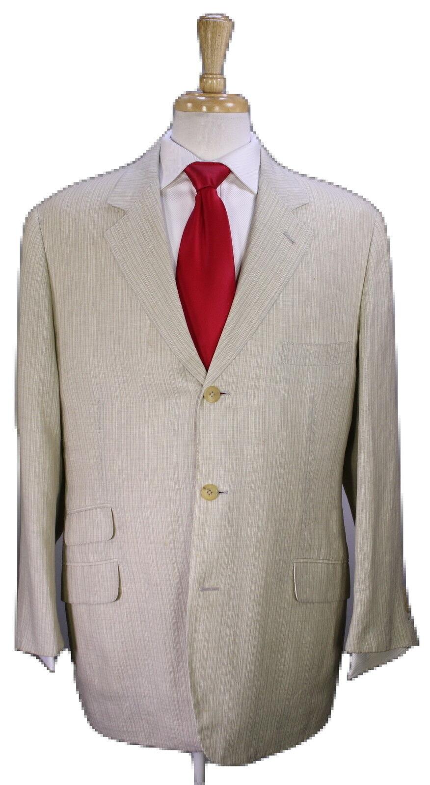 Hermes Beige Texturé Main Silk-Linen 3-Btn équitation de Luxe Fait Main Texturé Costume 46R 1010c5