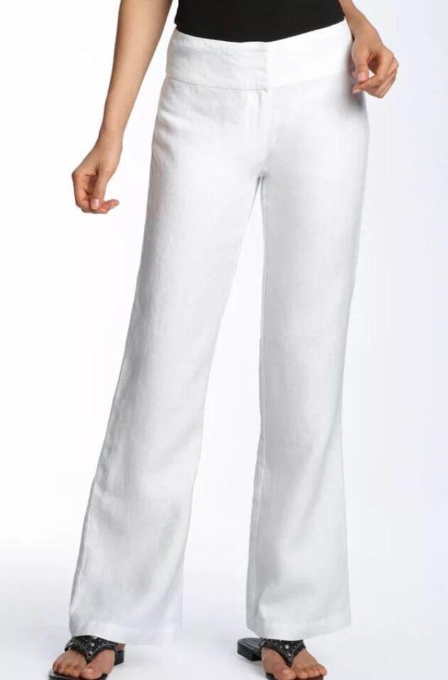 MEDIUM Eileen Fisher White Heavy Linen Wide Leg Trouser Yoke Pants NEW