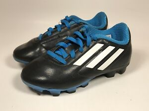 ADIDAS Conquisto FG Soccer Cleats Black White Blue Youth Kids Sz US ... b578ab828f1f2