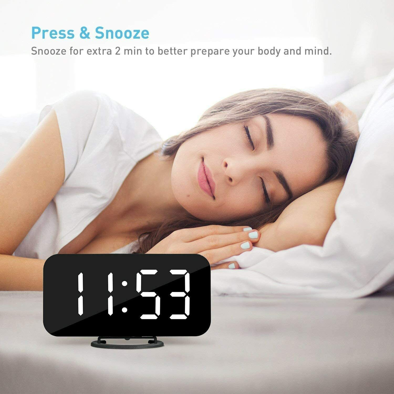 Diming Mode Easy Snooze Function Dual USB Charging Ports for Bedroom Living Room Office Mirror Surface Travel LED Digital Alarm Clock with Large 6.5 Easy-Read Display