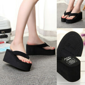 New High-heeled Flip-flops Wedge With Thick-soled Beach Sandals Women/'s Slippers