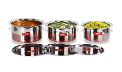 3 Pcs Stainless Steel Copper Bottom Tope Set Bhagona Pot Patila Cooking Pot Lid