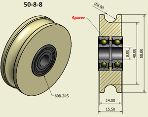 50mm-Nylon-Pulley-Wheel-with-Ball-Bearings-Various-Groove-Size-Precisely-Turned