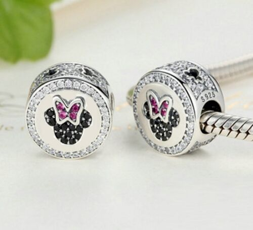 Stunning 925 Silver Minnie Pave Head Charm With Cubic Zirconia Studs