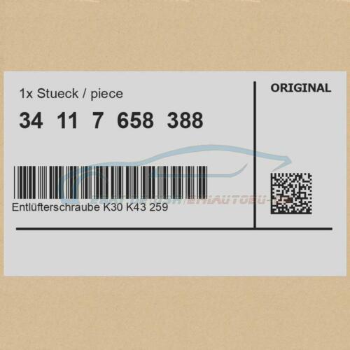 ORIGINALE BMW 34117658388-entlüfterschraube k30 k43 259 259c k589 r21 r22 R....