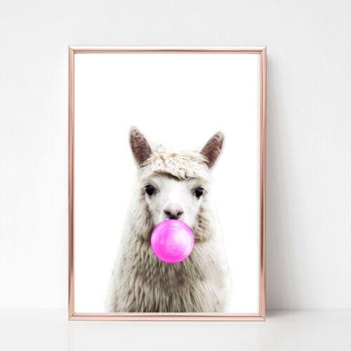 llama alpaca print PICTURE Bubble gum  WALL ART A4  unframed 503 black white