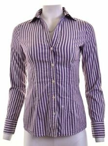 BENETTON-Womens-Shirt-Size-10-Small-Purple-Striped-Cotton-MJ05