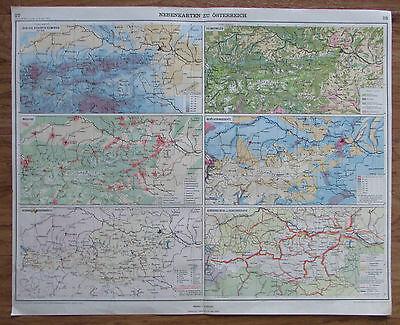 Nebenkarten zu Österreich Industrie Wasserkräfte - Landkarte aus 1928 old map