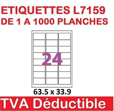 De 1 A 1000 Planches De 24 étiquettes Autocollantes 63.5 X 33.9 Mm L7159 Garanzia Al 100%