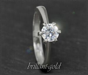 Diamant-585-Gold-Brillant-Ring-Solitaer-0-67ct-Top-Wesselton-14-Karat-Weissgold
