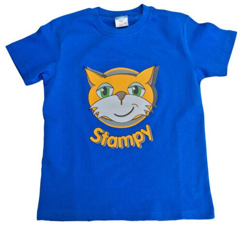 Boys Girls StampyLongNose Mr Stampy You Tube T Shirt BLUE FACE 7 TO 12 Years