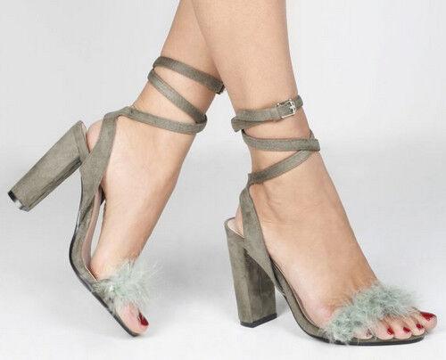 Chic Ladies Fluffy Strappy Block Heels -  Khaki  - - UK Sizes 3 -  6 20ff1f