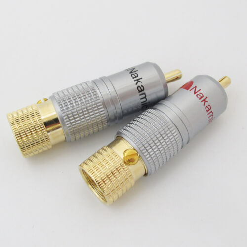 20pcs High Quality Gold Plated Nakamichi RCA Plug Lock Free solder A//V connector