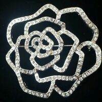 Nip Avon Silver Shimmering Flower Pin Brooch Great Accessory Cute Jewel Accents