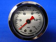"""Marshall Gauge 0-15 psi Fuel Pressure Oil Pressure White 1.5"""" Diameter Liquid"""