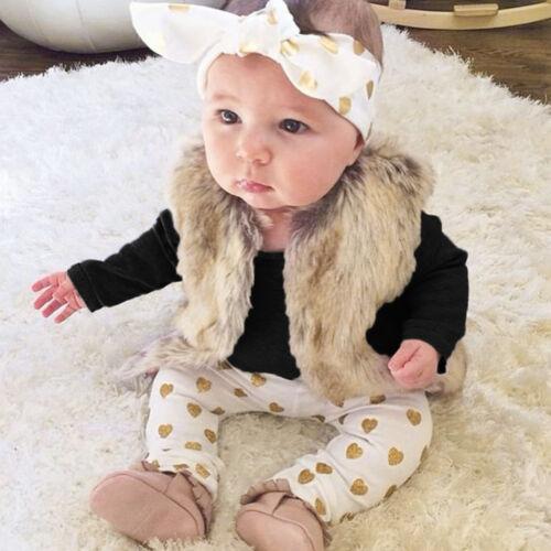 3PCS Newborn Infant Kid Baby Girl Tops Romper Pants Headband Outfit Clothes TSEE