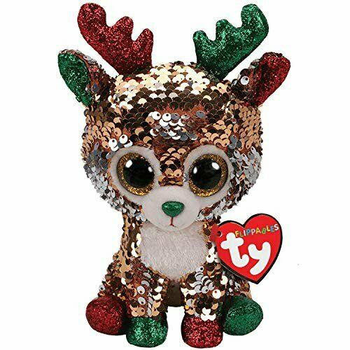 """TY Christmas Flippables 6/"""" TEGAN the Reindeer Beanie Baby Sequins Plush MWMTs"""