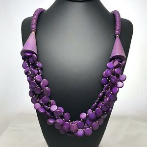 Vintage-Purple-Wood-Bead-Statement-Necklace-Multiple-Flat-Bead-Strands-And-Cones