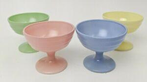 4 HAZEL ATLAS DEPRESSION GLASS MODERNTONE PLATONITE SHERBET DISHES FOOTED CUPS