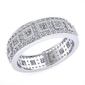 Ladies-Antique-Style-Eternity-Band-Ring-2ct-Princess-Diamond-950-Platinum-F-VS1