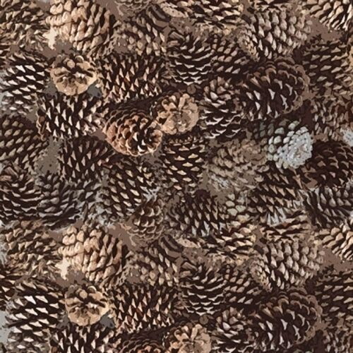 Henry Glass Moose Lodge 6619 33 Brown Packed Pinecones  BTY COTTON