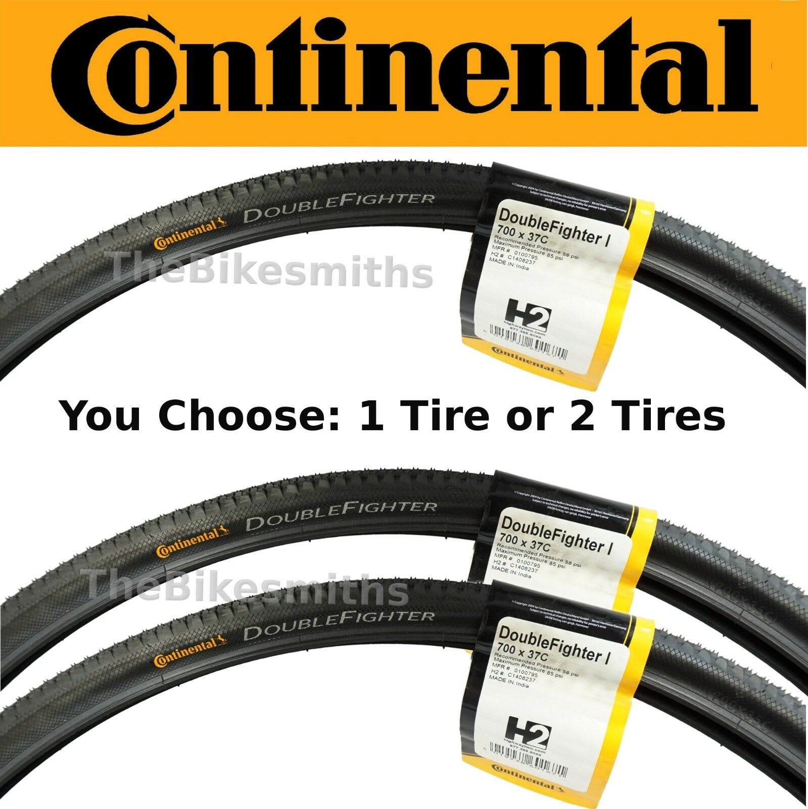 1 or 2PAK Continental Double Fighter 700 x 37c Bike Tire  (also fits 29 )