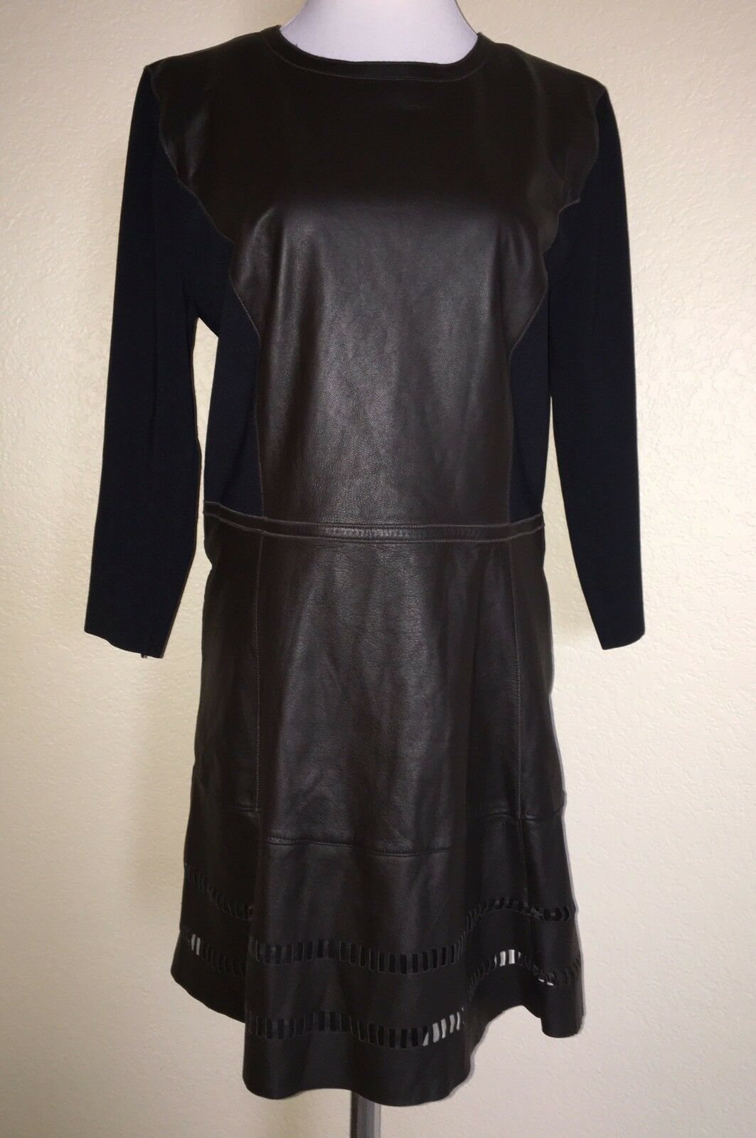 ELIE TAHARI Brown Leather Laser Cut Long Sleeve Dress Size 14 NEW