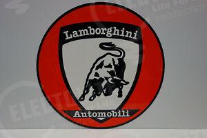 """LAMBORGHINI  Vintage Steel Enamel DEALERSHIP SIGN. HUGE 20"""" IN DIAMETER!"""
