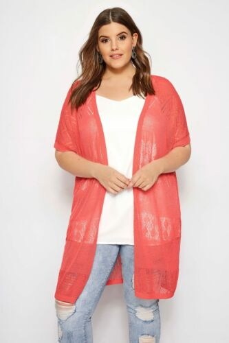 Yours Clothing Women/'s Plus Size Coral Pointelle Knit Cardigan