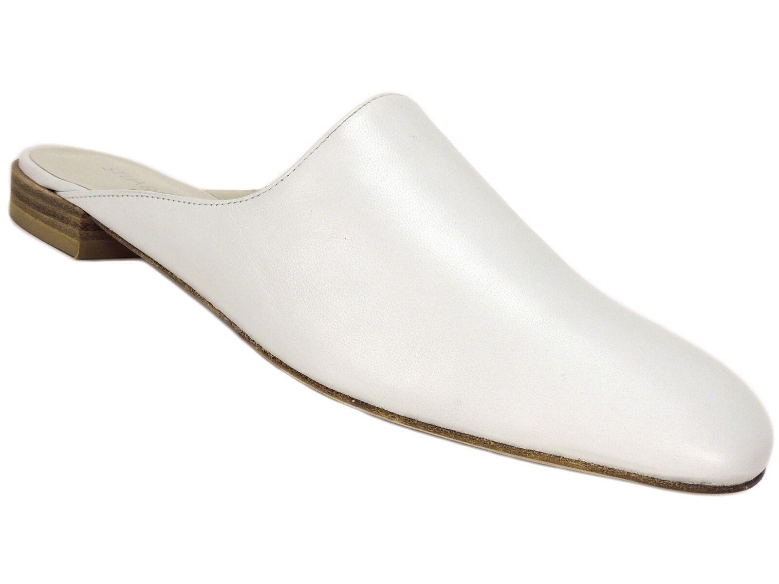 Stuart Weitzman Women's Mulearky Mules White Nappa Leather Size 5.5 M