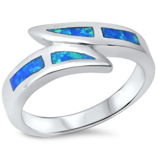 Blue Opal .925 Sterling Silver Ring sizes 6-10