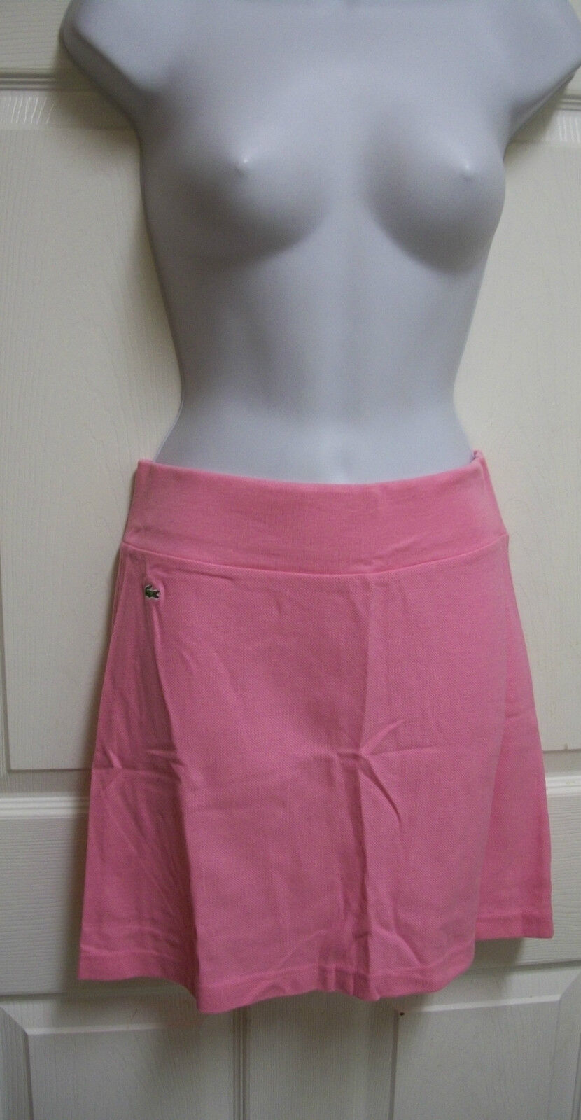 NEW LACOSTE PINK PIQUE KNIT SHORT ELASTIC ALLIGATOR LOGO WAIST MINI SKIRT 34 2