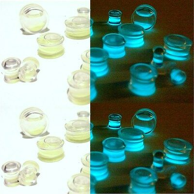 Pair of Glow in the Dark Liquid Filled Ear Plugs Double Flared Saddle Ear Gauges