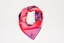 Louis Vuitton Pink Purple Red Silk Logo Scarf