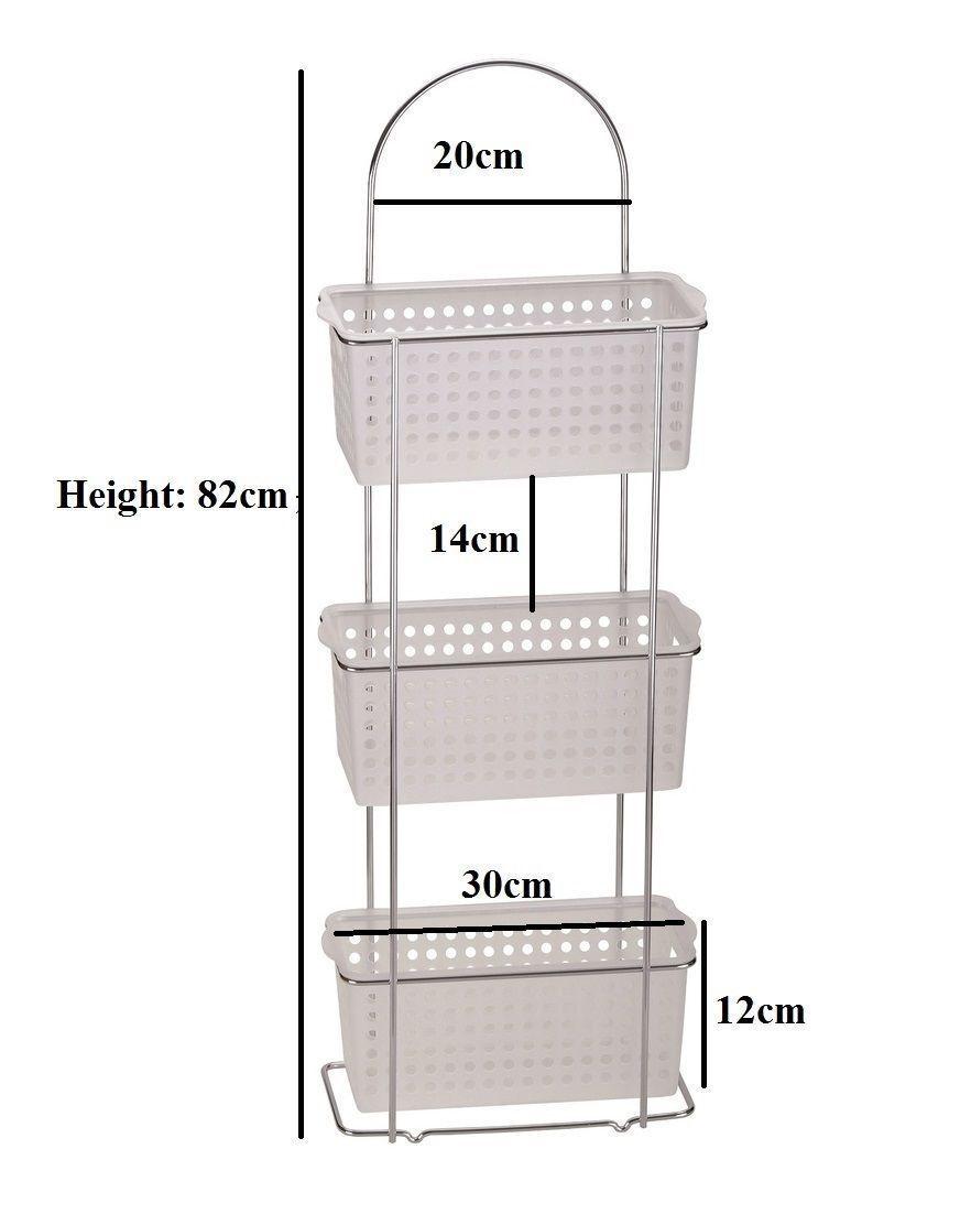 3 Tier Wide Plastic Basket Free Standing Caddy