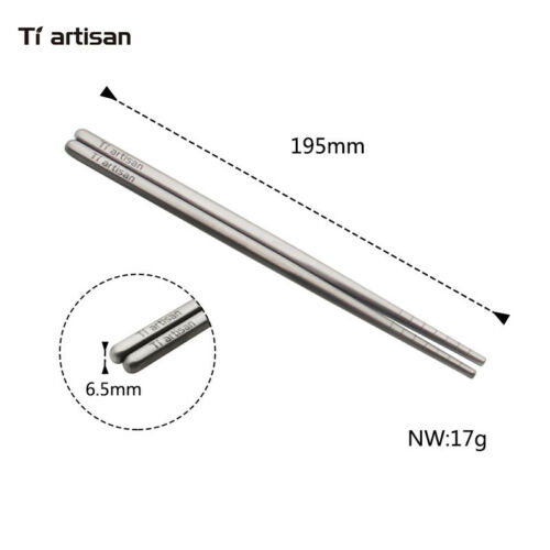 Tiartisan Titanium Food Sticks Outdoor Tableware Chopsticks For Camping Picnic