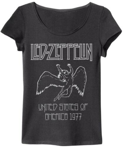 Led Zeppelin 77 US Logo Damen T-Shirt S-XL Amplified Grau