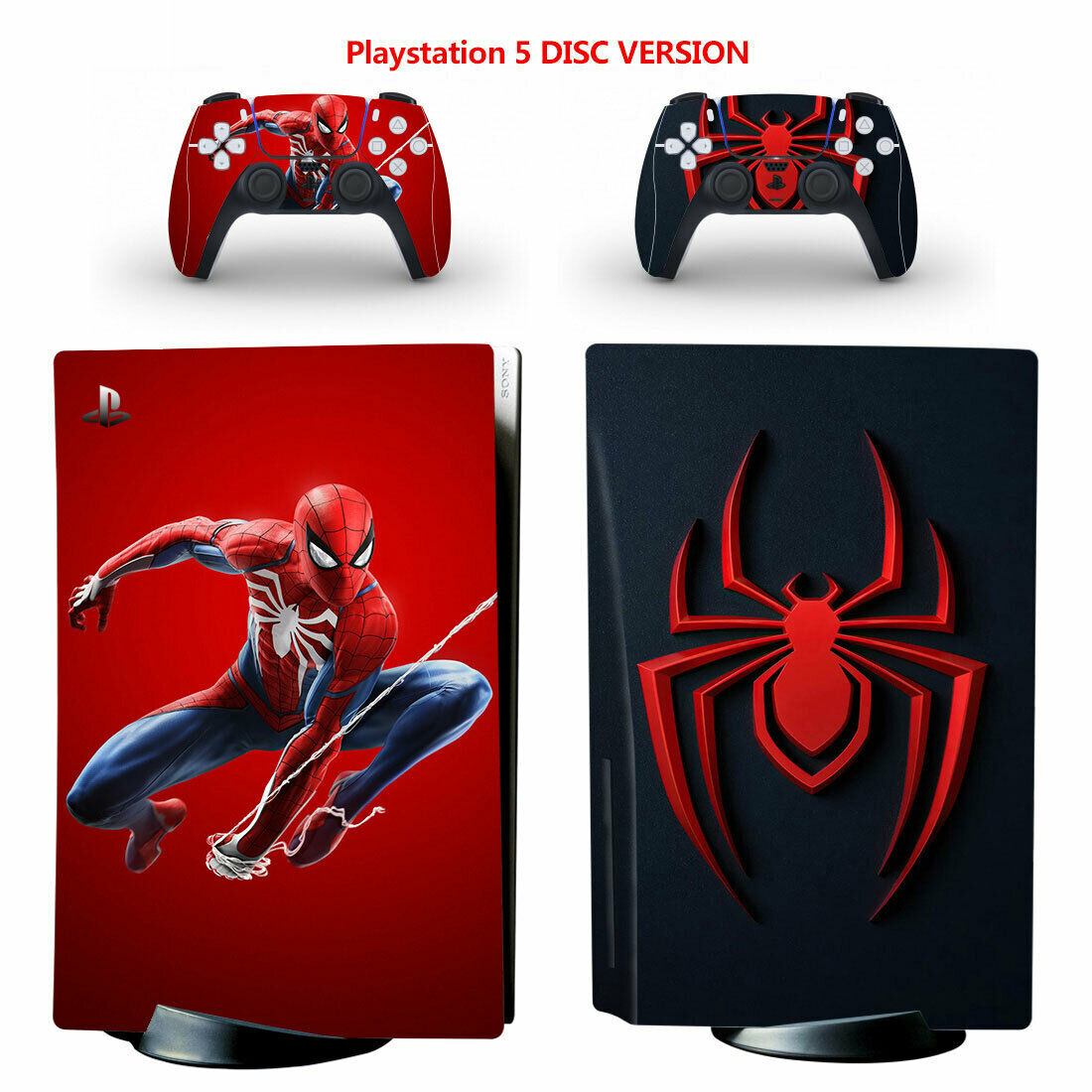 Spiderman PS5 PlayStation 5 Disc Console Controllers Vinyl Decal Skin Sticker