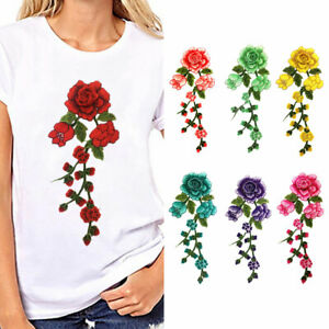 AU-Floral-Flower-Applique-Clothing-Embroidery-Patch-Sticker-Iron-On-Sew-Cloth-N